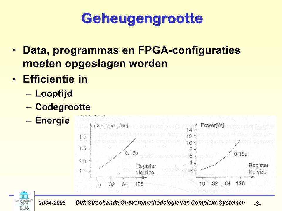 Dirk Stroobandt: Ontwerpmethodologie van Complexe Systemen 2004-2005 -4- Geheugengrootte Snelheidsverschil geheugens en processoren groeit: caches nodig