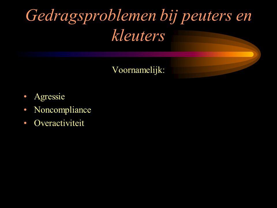 Gedragsproblemen bij peuters en kleuters Voornamelijk: Agressie Noncompliance Overactiviteit