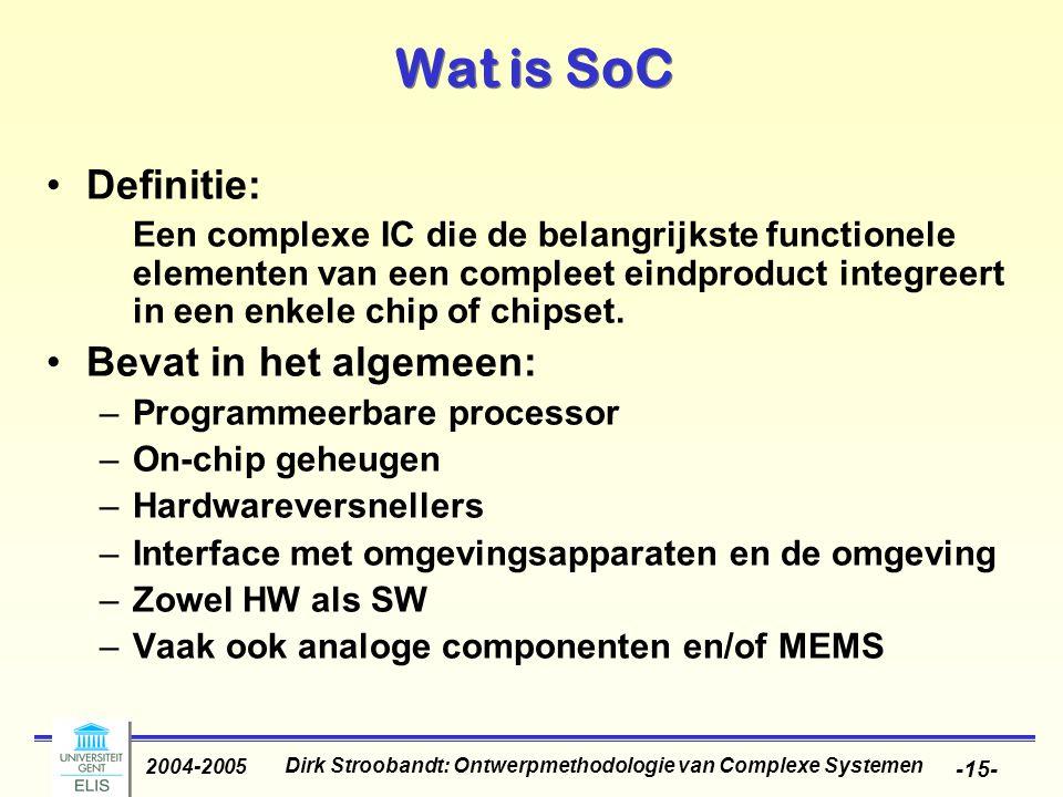 Dirk Stroobandt: Ontwerpmethodologie van Complexe Systemen 2004-2005 -15- Wat is SoC Definitie: Een complexe IC die de belangrijkste functionele eleme