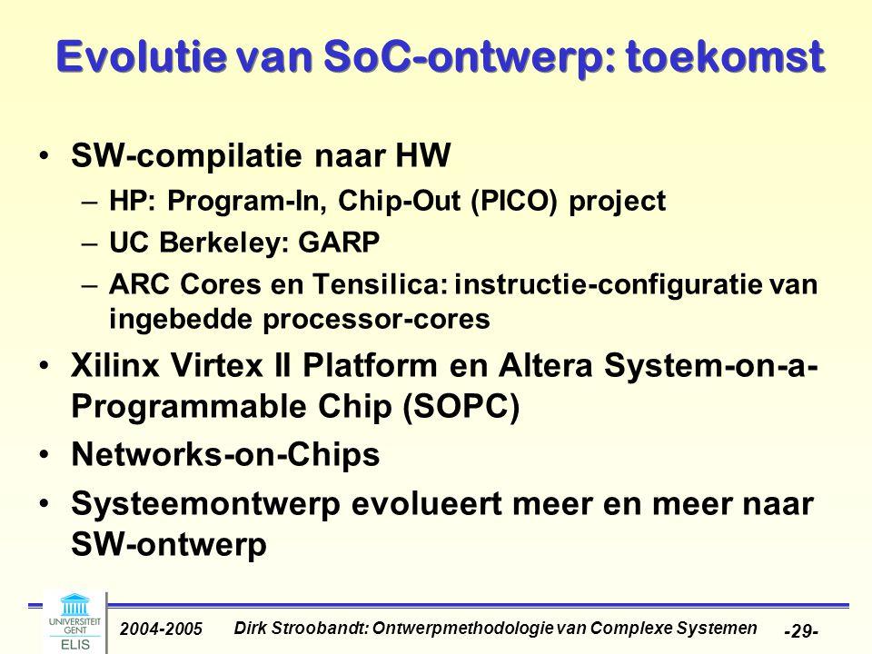 Dirk Stroobandt: Ontwerpmethodologie van Complexe Systemen 2004-2005 -29- Evolutie van SoC-ontwerp: toekomst SW-compilatie naar HW –HP: Program-In, Ch