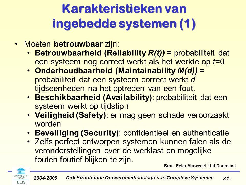 Dirk Stroobandt: Ontwerpmethodologie van Complexe Systemen 2004-2005 -31- Karakteristieken van ingebedde systemen (1) Moeten betrouwbaar zijn: Betrouw