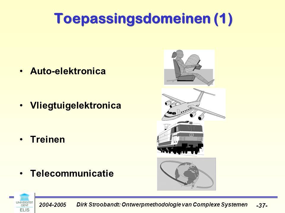 Dirk Stroobandt: Ontwerpmethodologie van Complexe Systemen 2004-2005 -37- Toepassingsdomeinen (1) Auto-elektronica Vliegtuigelektronica Treinen Teleco