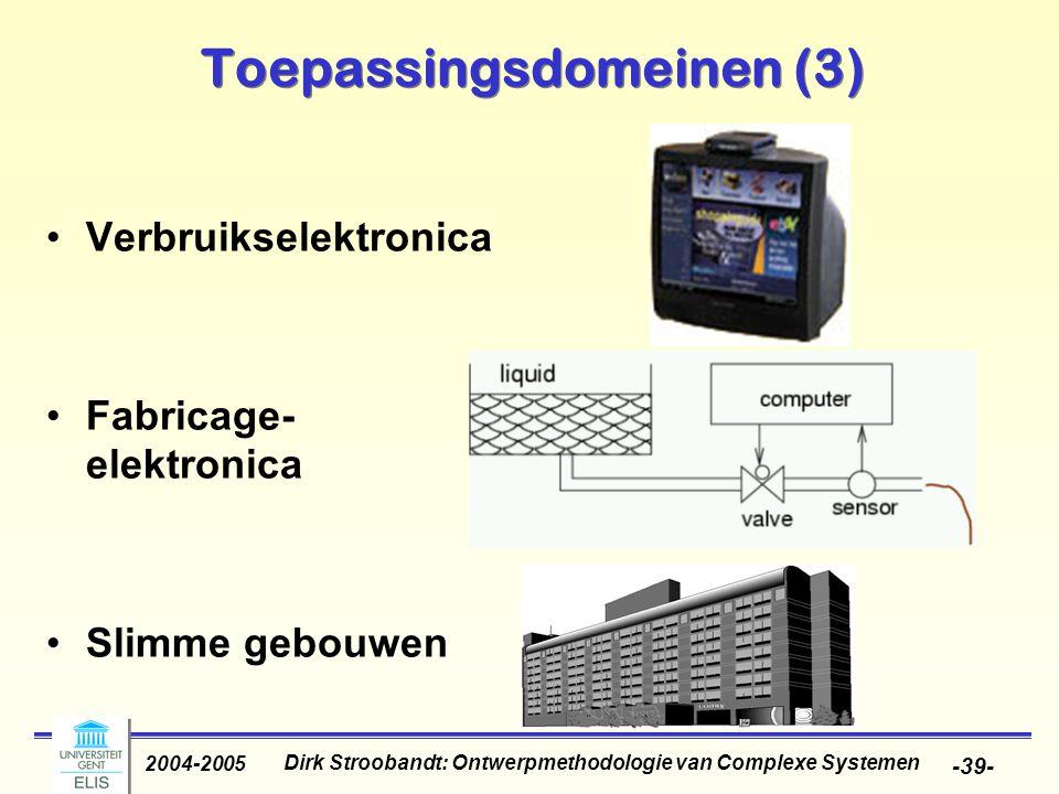 Dirk Stroobandt: Ontwerpmethodologie van Complexe Systemen 2004-2005 -39- Toepassingsdomeinen (3) Verbruikselektronica Fabricage- elektronica Slimme g