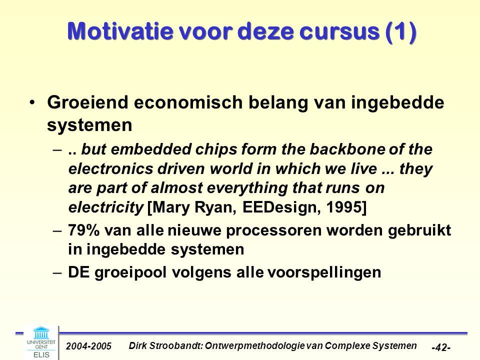 Dirk Stroobandt: Ontwerpmethodologie van Complexe Systemen 2004-2005 -42- Motivatie voor deze cursus (1) Groeiend economisch belang van ingebedde syst