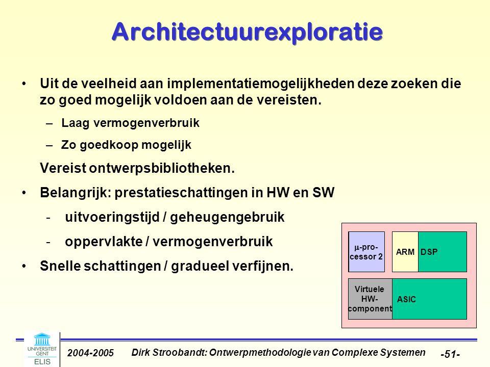 Dirk Stroobandt: Ontwerpmethodologie van Complexe Systemen 2004-2005 -51- Uit de veelheid aan implementatiemogelijkheden deze zoeken die zo goed mogel