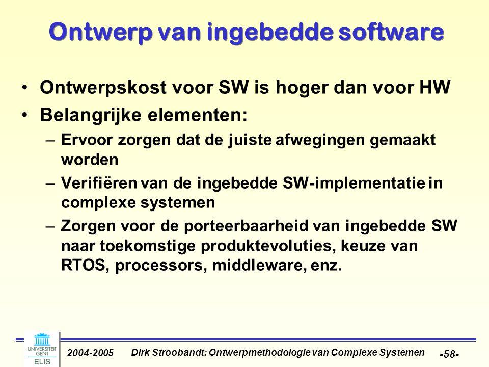 Dirk Stroobandt: Ontwerpmethodologie van Complexe Systemen 2004-2005 -58- Ontwerp van ingebedde software Ontwerpskost voor SW is hoger dan voor HW Bel