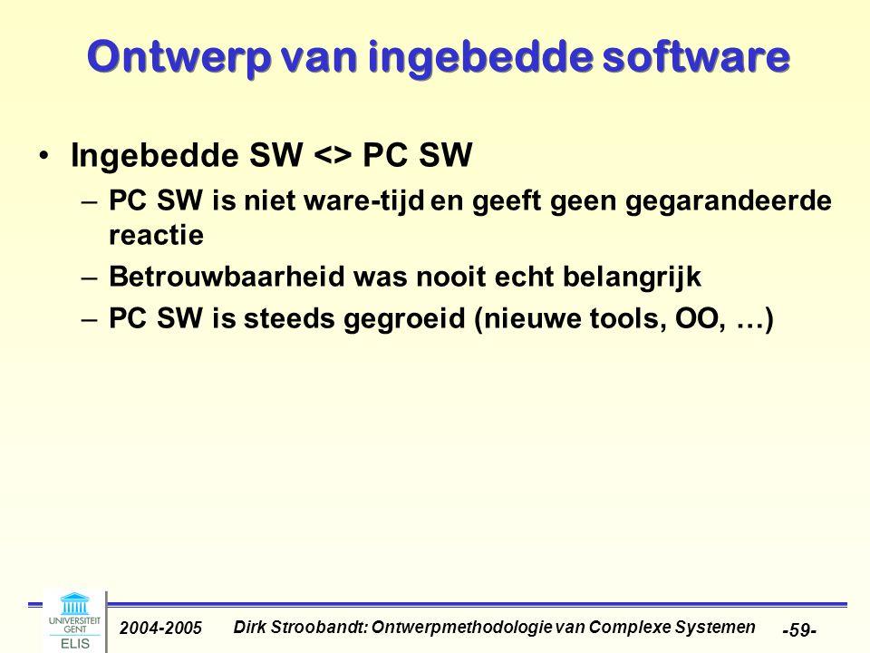 Dirk Stroobandt: Ontwerpmethodologie van Complexe Systemen 2004-2005 -59- Ontwerp van ingebedde software Ingebedde SW <> PC SW –PC SW is niet ware-tij