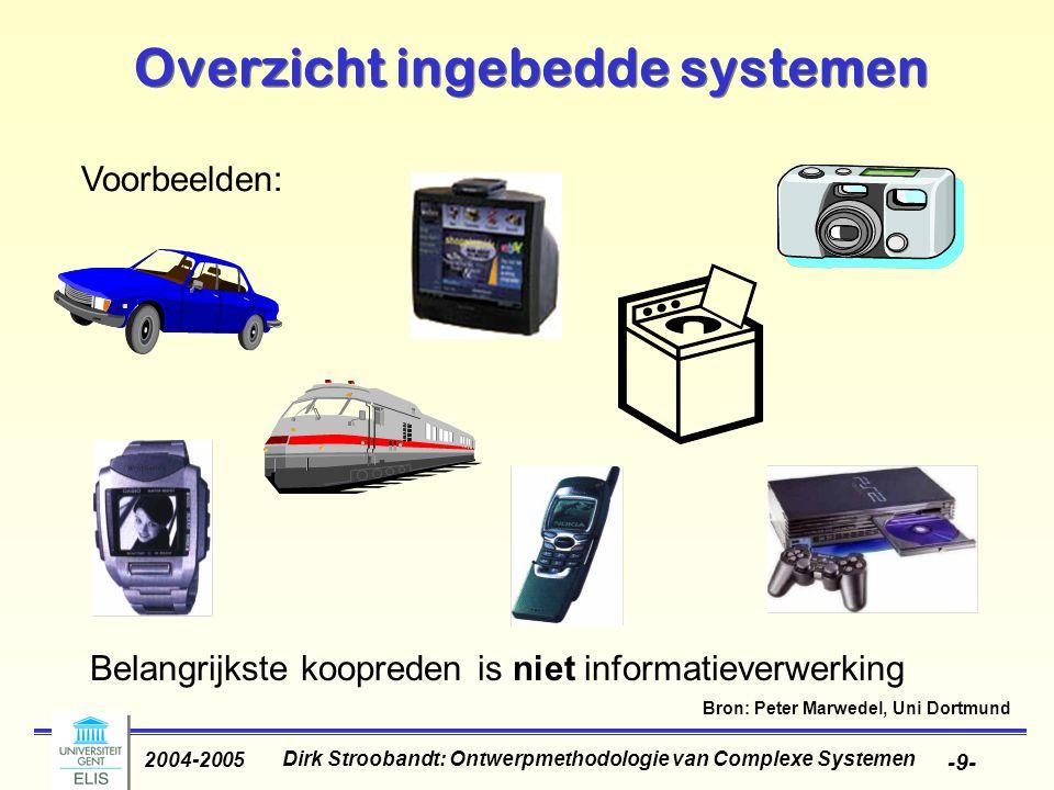 Dirk Stroobandt: Ontwerpmethodologie van Complexe Systemen 2004-2005 -9- Overzicht ingebedde systemen Belangrijkste koopreden is niet informatieverwer
