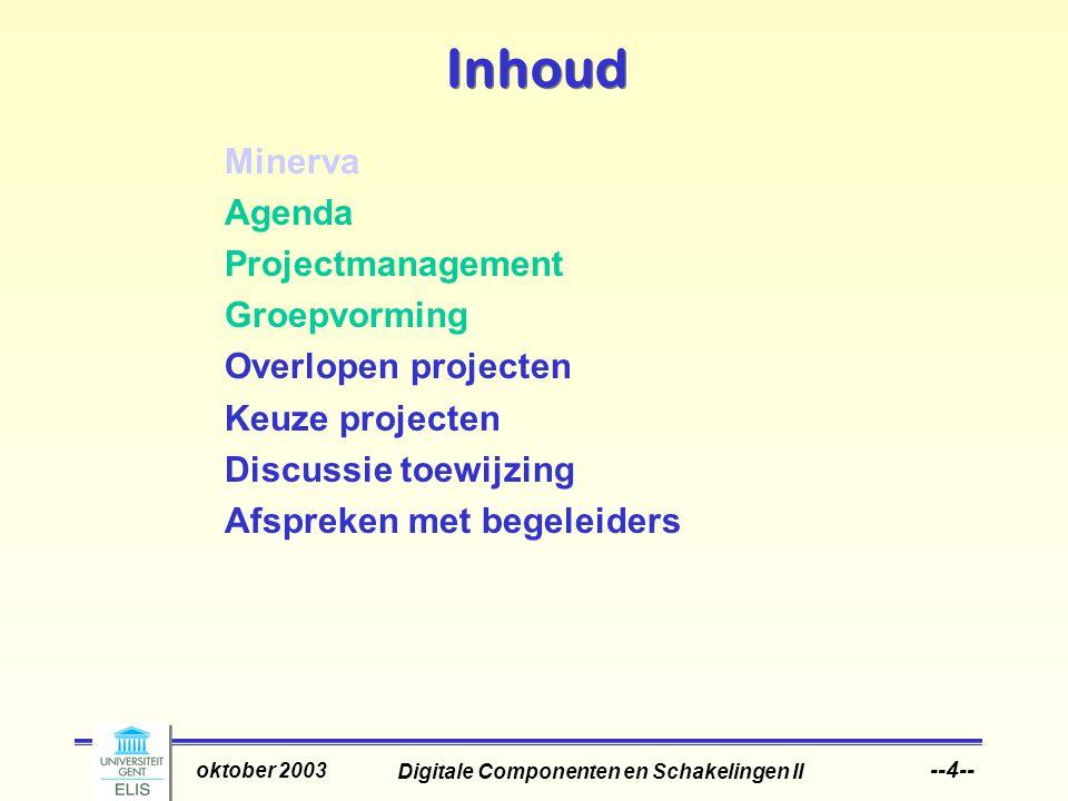 Digitale Componenten en Schakelingen II oktober 2003 --4-- Inhoud Minerva Agenda Projectmanagement Groepvorming Overlopen projecten Keuze projecten Discussie toewijzing Afspreken met begeleiders