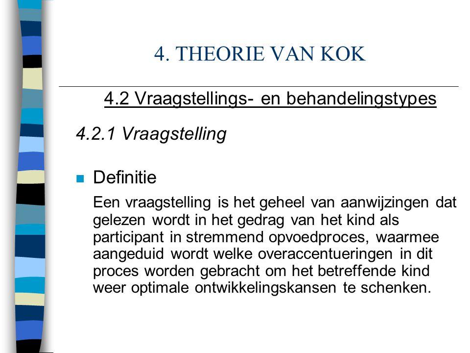 4. THEORIE VAN KOK 4.2 Vraagstellings- en behandelingstypes 4.2.1 Vraagstelling n Definitie Een vraagstelling is het geheel van aanwijzingen dat gelez