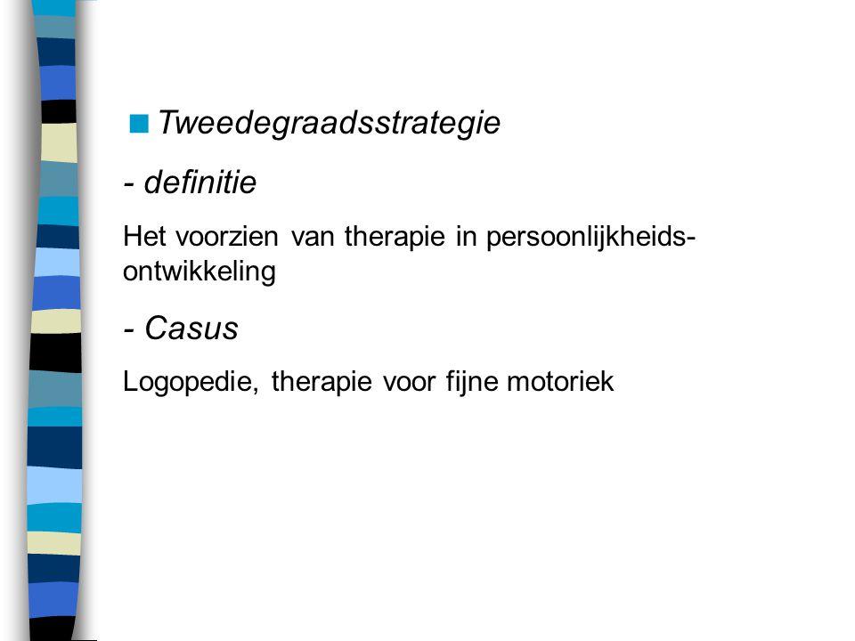  Tweedegraadsstrategie - definitie Het voorzien van therapie in persoonlijkheids- ontwikkeling - Casus Logopedie, therapie voor fijne motoriek