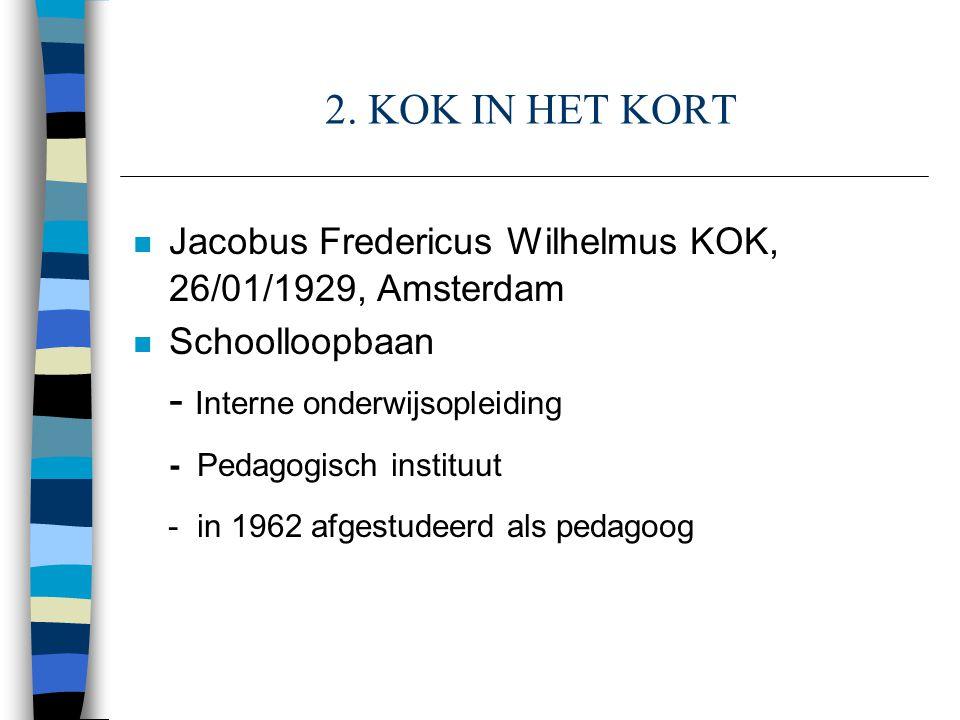 2. KOK IN HET KORT n Jacobus Fredericus Wilhelmus KOK, 26/01/1929, Amsterdam n Schoolloopbaan - Interne onderwijsopleiding - Pedagogisch instituut - i