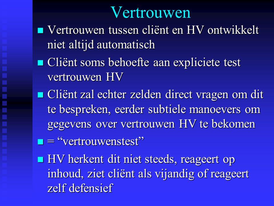 Vertrouwen n Vertrouwen tussen cliënt en HV ontwikkelt niet altijd automatisch n Cliënt soms behoefte aan expliciete test vertrouwen HV n Cliënt zal e