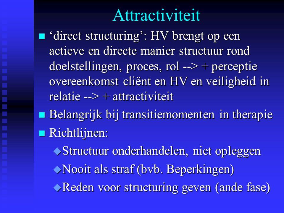 Attractiviteit n 'direct structuring': HV brengt op een actieve en directe manier structuur rond doelstellingen, proces, rol --> + perceptie overeenko