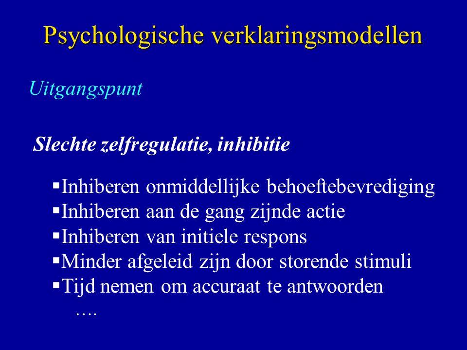 Uitgangspunt Slechte zelfregulatie, inhibitie  Inhiberen onmiddellijke behoeftebevrediging  Inhiberen aan de gang zijnde actie  Inhiberen van initi
