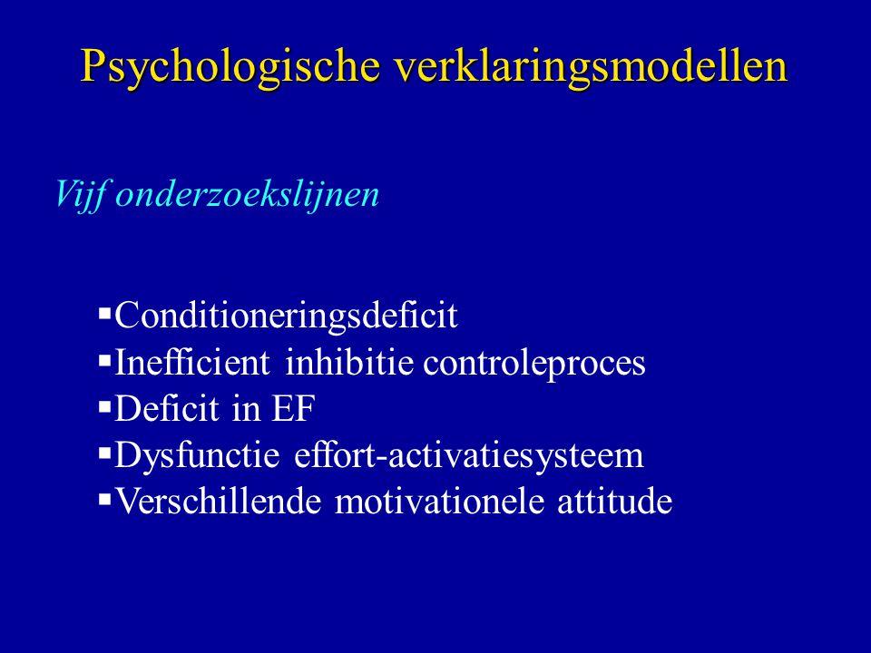 Vijf onderzoekslijnen  Conditioneringsdeficit  Inefficient inhibitie controleproces  Deficit in EF  Dysfunctie effort-activatiesysteem  Verschillende motivationele attitude Psychologische verklaringsmodellen