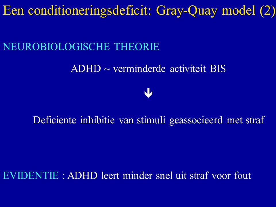 NEUROBIOLOGISCHE THEORIE ADHD ~ verminderde activiteit BIS  Deficiente inhibitie van stimuli geassocieerd met straf EVIDENTIE : ADHD leert minder snel uit straf voor fout Een conditioneringsdeficit: Gray-Quay model (2)