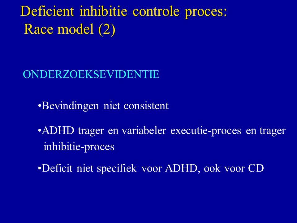 ONDERZOEKSEVIDENTIE Bevindingen niet consistent ADHD trager en variabeler executie-proces en trager inhibitie-proces Deficit niet specifiek voor ADHD, ook voor CD Deficient inhibitie controle proces: Race model (2) Race model (2)