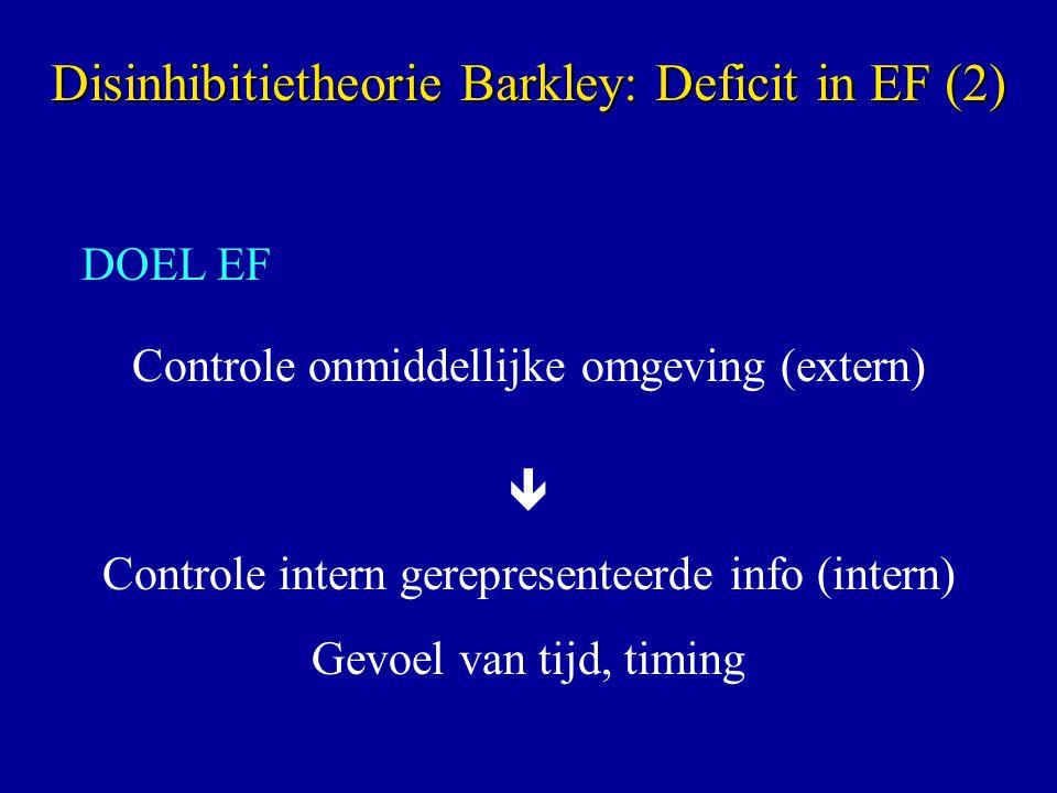 DOEL EF Controle onmiddellijke omgeving (extern)  Controle intern gerepresenteerde info (intern) Gevoel van tijd, timing Disinhibitietheorie Barkley: Deficit in EF (2)