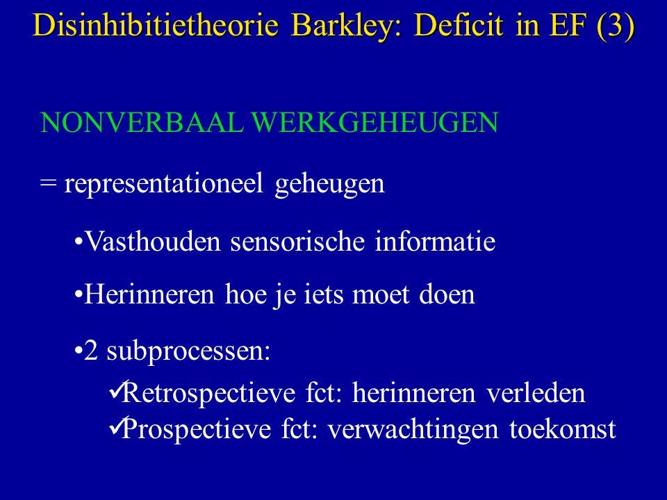 NONVERBAAL WERKGEHEUGEN = representationeel geheugen Vasthouden sensorische informatie Herinneren hoe je iets moet doen 2 subprocessen: Retrospectieve fct: herinneren verleden Prospectieve fct: verwachtingen toekomst Disinhibitietheorie Barkley: Deficit in EF (3)