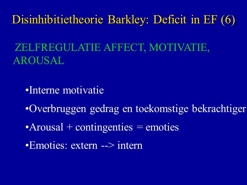 ZELFREGULATIE AFFECT, MOTIVATIE, AROUSAL Interne motivatie Overbruggen gedrag en toekomstige bekrachtiger Arousal + contingenties = emoties Emoties: extern --> intern Disinhibitietheorie Barkley: Deficit in EF (6)