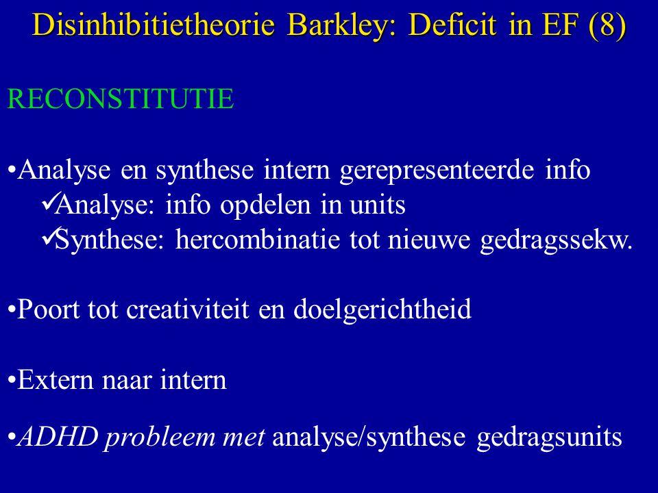 RECONSTITUTIE Analyse en synthese intern gerepresenteerde info Analyse: info opdelen in units Synthese: hercombinatie tot nieuwe gedragssekw.