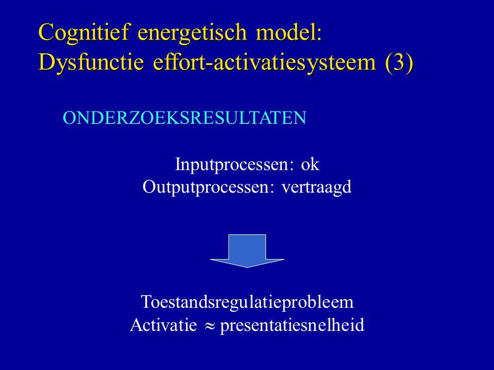 Cognitief energetisch model: Dysfunctie effort-activatiesysteem (3) ONDERZOEKSRESULTATEN Inputprocessen: ok Outputprocessen: vertraagd Toestandsregulatieprobleem Activatie  presentatiesnelheid