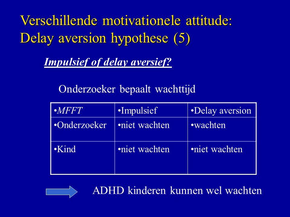 Impulsief of delay aversief? Onderzoeker bepaalt wachttijd MFFTImpulsiefDelay aversion Onderzoekerniet wachtenwachten Kindniet wachten ADHD kinderen k