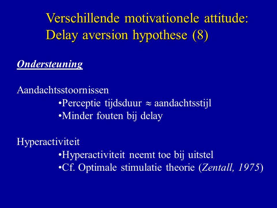 Ondersteuning Aandachtsstoornissen Perceptie tijdsduur  aandachtsstijl Minder fouten bij delay Hyperactiviteit Hyperactiviteit neemt toe bij uitstel Cf.