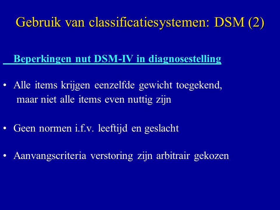 Beperkingen nut DSM-IV in diagnosestelling Alle items krijgen eenzelfde gewicht toegekend, maar niet alle items even nuttig zijn Geen normen i.f.v. le