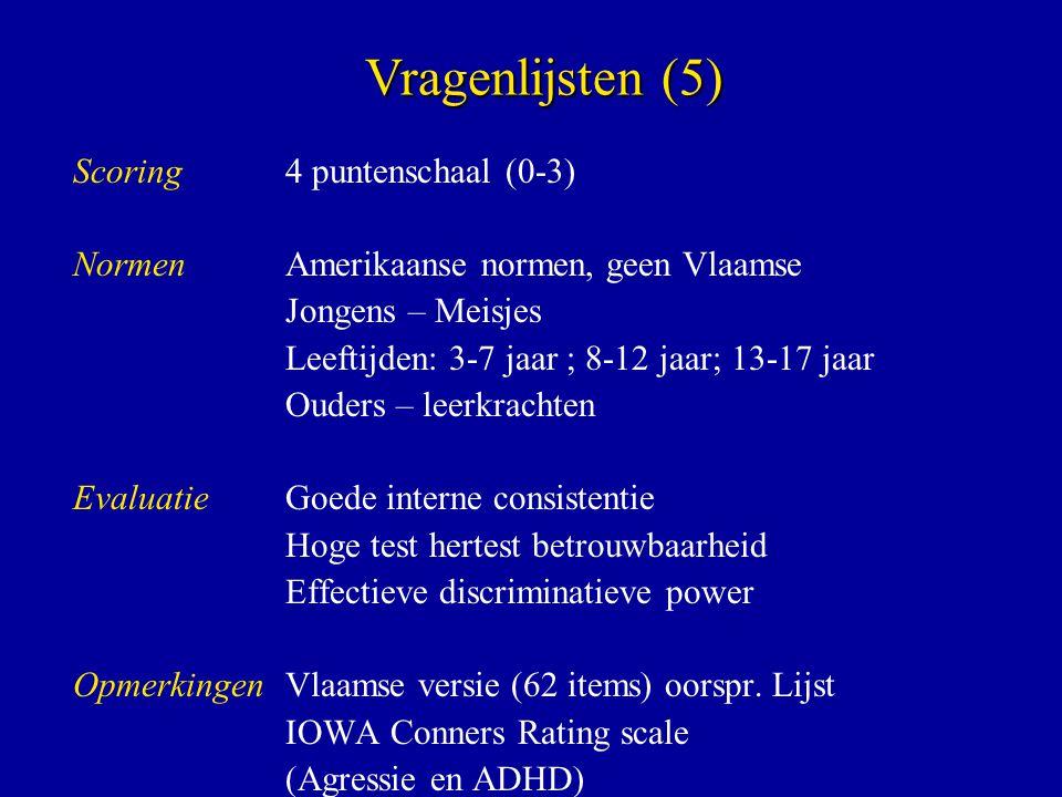 Scoring 4 puntenschaal (0-3) NormenAmerikaanse normen, geen Vlaamse Jongens – Meisjes Leeftijden: 3-7 jaar ; 8-12 jaar; 13-17 jaar Ouders – leerkracht