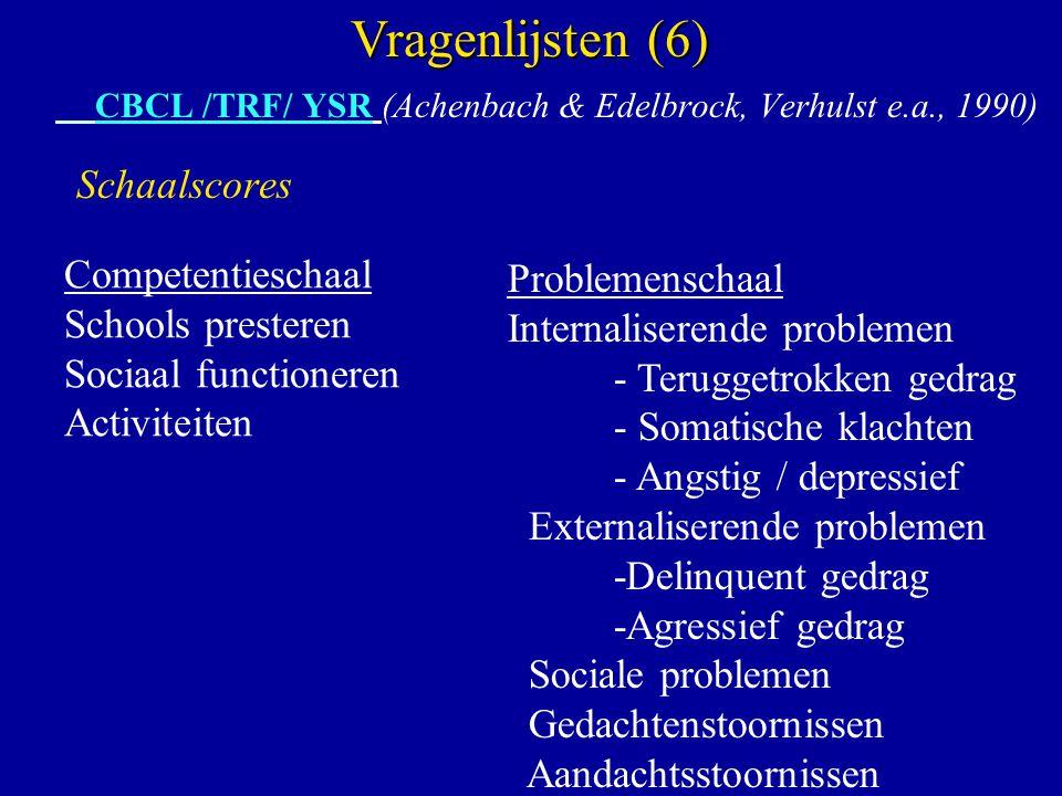 CBCL /TRF/ YSR (Achenbach & Edelbrock, Verhulst e.a., 1990) Schaalscores Vragenlijsten (6) Competentieschaal Schools presteren Sociaal functioneren Ac