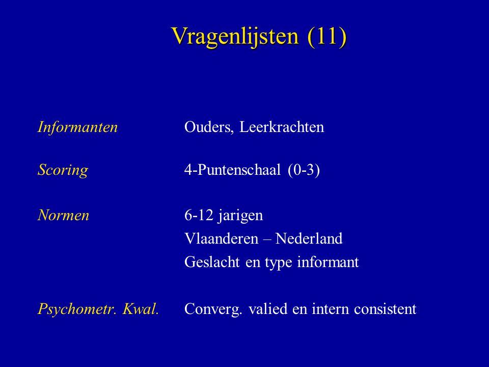 InformantenOuders, Leerkrachten Scoring4-Puntenschaal (0-3) Normen 6-12 jarigen Vlaanderen – Nederland Geslacht en type informant Psychometr. Kwal. Co