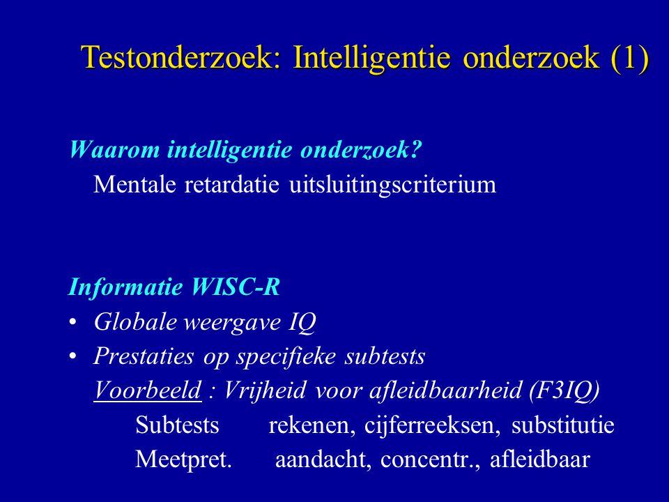 Waarom intelligentie onderzoek? Mentale retardatie uitsluitingscriterium Informatie WISC-R Globale weergave IQ Prestaties op specifieke subtests Voorb