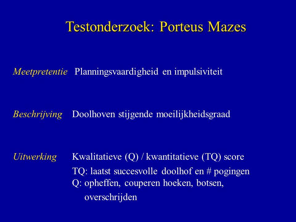 Meetpretentie Planningsvaardigheid en impulsiviteit BeschrijvingDoolhoven stijgende moeilijkheidsgraad UitwerkingKwalitatieve (Q) / kwantitatieve (TQ)