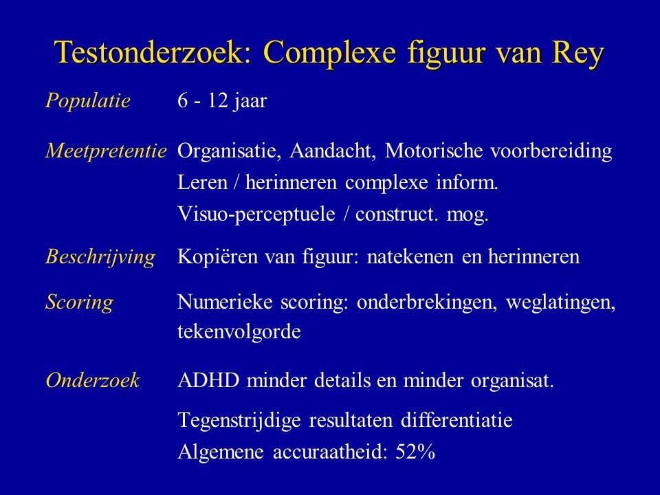 Populatie6 - 12 jaar MeetpretentieOrganisatie, Aandacht, Motorische voorbereiding Leren / herinneren complexe inform. Visuo-perceptuele / construct. m