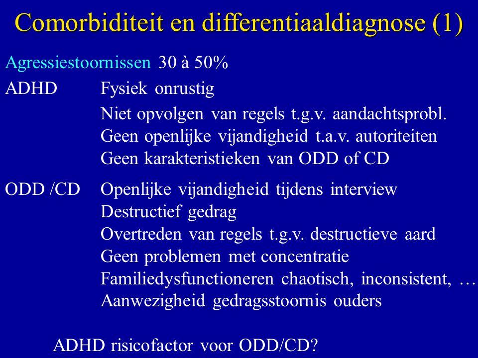 Agressiestoornissen 30 à 50% ADHD Fysiek onrustig Niet opvolgen van regels t.g.v. aandachtsprobl. Geen openlijke vijandigheid t.a.v. autoriteiten Geen