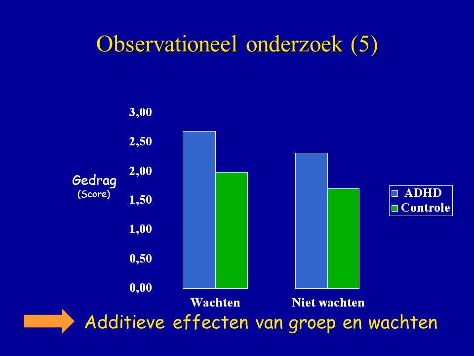 Observationeel onderzoek (5) Gedrag (Score) Additieve effecten van groep en wachten