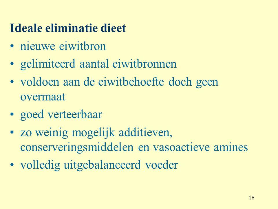 16 Ideale eliminatie dieet nieuwe eiwitbron gelimiteerd aantal eiwitbronnen voldoen aan de eiwitbehoefte doch geen overmaat goed verteerbaar zo weinig