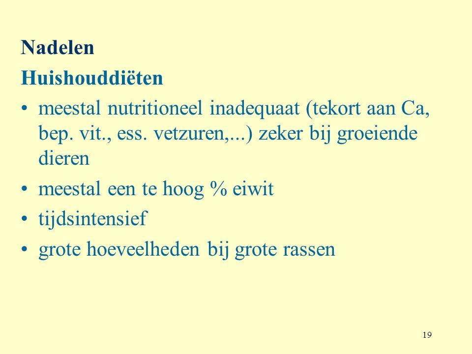19 Nadelen Huishouddiëten meestal nutritioneel inadequaat (tekort aan Ca, bep. vit., ess. vetzuren,...) zeker bij groeiende dieren meestal een te hoog