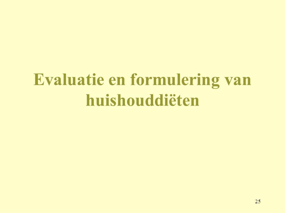 25 Evaluatie en formulering van huishouddiëten