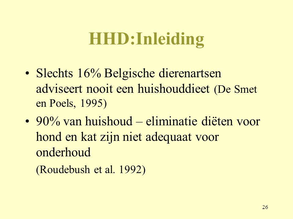 26 HHD:Inleiding Slechts 16% Belgische dierenartsen adviseert nooit een huishouddieet (De Smet en Poels, 1995) 90% van huishoud – eliminatie diëten vo