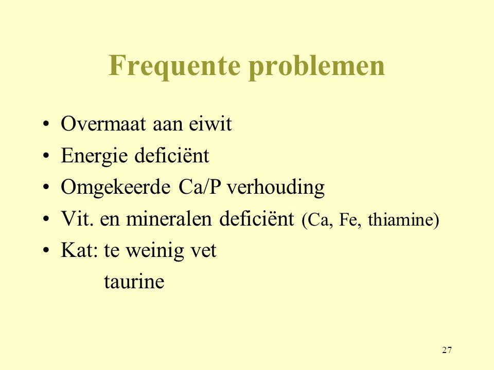 27 Frequente problemen Overmaat aan eiwit Energie deficiënt Omgekeerde Ca/P verhouding Vit. en mineralen deficiënt (Ca, Fe, thiamine) Kat: te weinig v