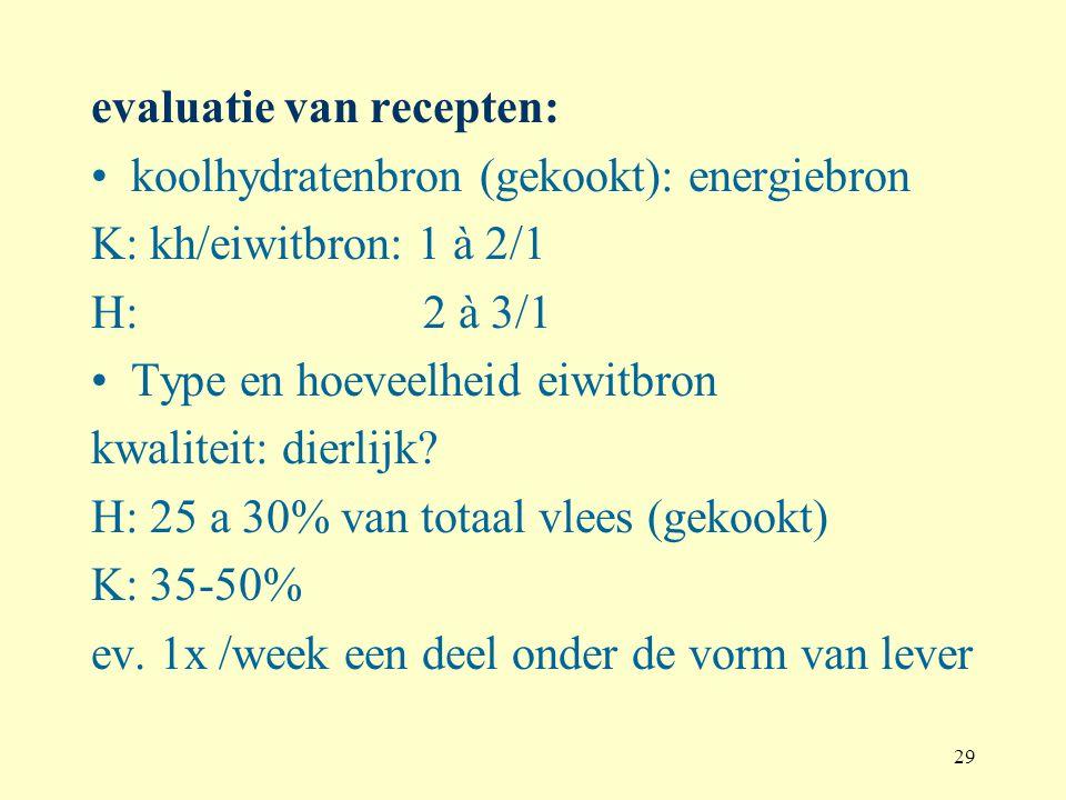 29 evaluatie van recepten: koolhydratenbron (gekookt): energiebron K: kh/eiwitbron: 1 à 2/1 H: 2 à 3/1 Type en hoeveelheid eiwitbron kwaliteit: dierli