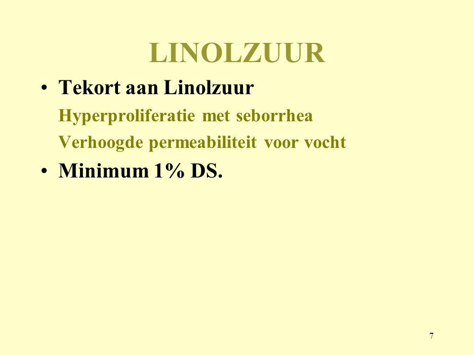 7 LINOLZUUR Tekort aan Linolzuur Hyperproliferatie met seborrhea Verhoogde permeabiliteit voor vocht Minimum 1% DS.