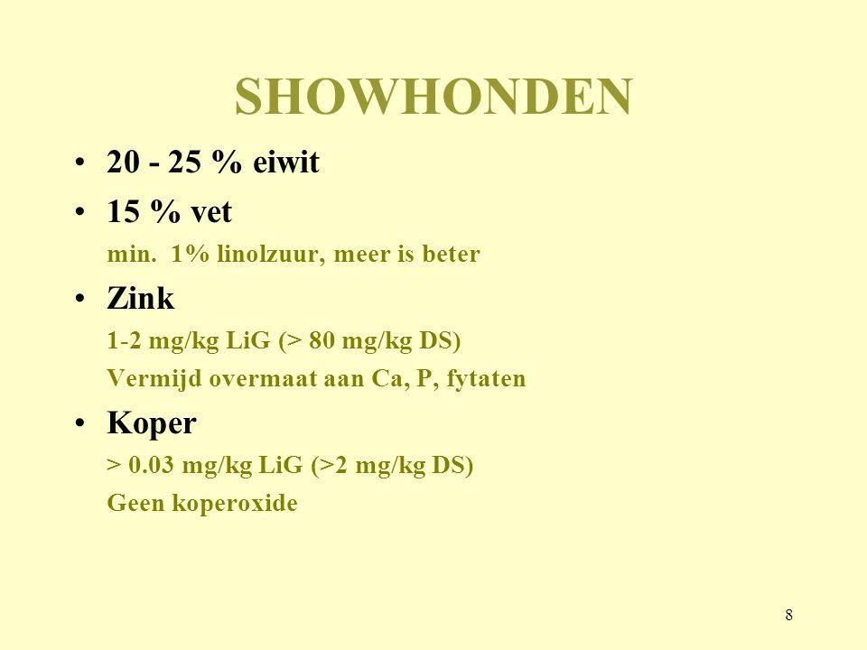 8 SHOWHONDEN 20 - 25 % eiwit 15 % vet min. 1% linolzuur, meer is beter Zink 1-2 mg/kg LiG (> 80 mg/kg DS) Vermijd overmaat aan Ca, P, fytaten Koper >
