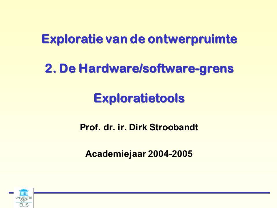 Exploratie van de ontwerpruimte 2. De Hardware/software-grens Exploratietools Prof. dr. ir. Dirk Stroobandt Academiejaar 2004-2005