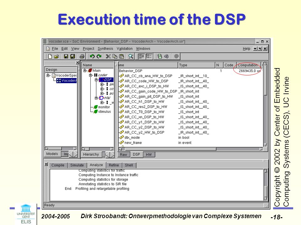 Dirk Stroobandt: Ontwerpmethodologie van Complexe Systemen 2004-2005 -18- Execution time of the DSP Copyright © 2002 by Center of Embedded Computing S