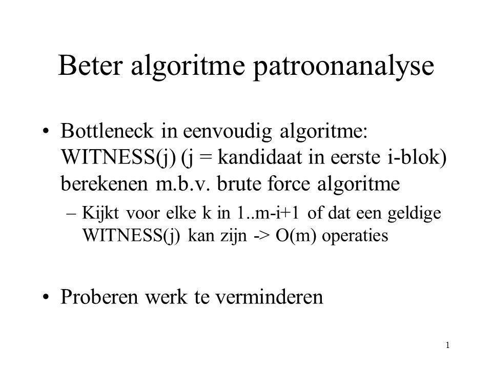 2 Beter algoritme patroonanalyse (2) Input: een patroon P(1:m) met m = 2 s Output: de WITNESS(1:r) array met r = min(p,2 s-1 ) en p de periode van P