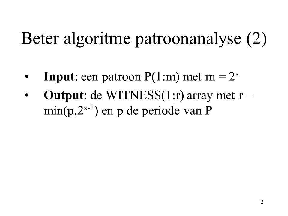 3 Beter algoritme patroonanalyse (3) 1.for 1 ≤ i ≤ m/2 pardo WITNESS(i) := 0 2.for i = 1 to s - 1 do 1.j := kandidaat in eerste i-blok, bereken WITNESS(j) via brute force met prefix P(1:2 i+1 ).